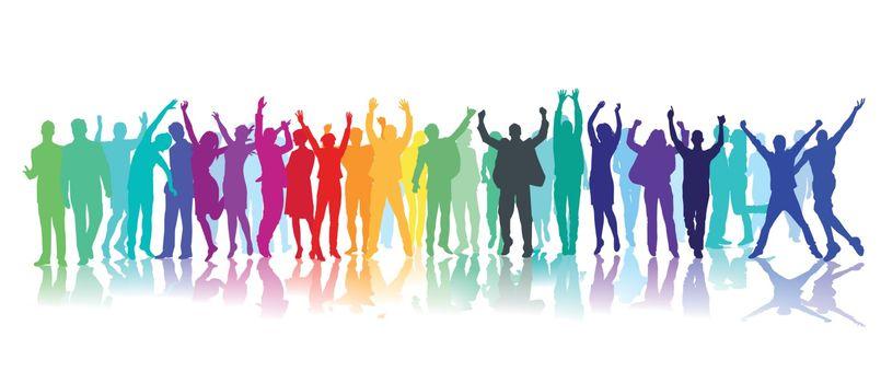 People celebrate together, illustration