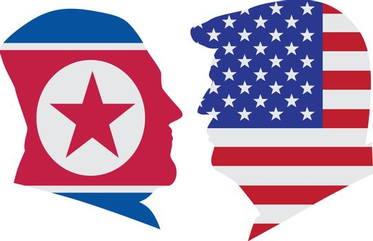 US President Donald Trump and Kim Jong Un silhouettes with United States America  and North Korea Flags Illustration