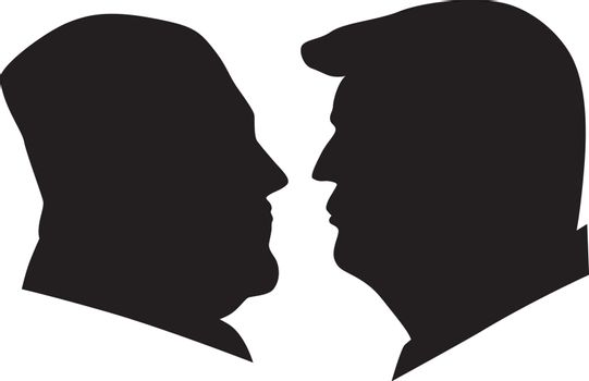 US President Donald Trump and Kim Jong Un black and white silhouettes Illustration