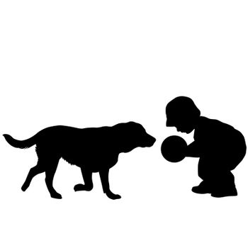 Silhouette of a toddler playing with a dog