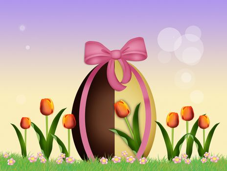 chocolate egg in the field of tulips