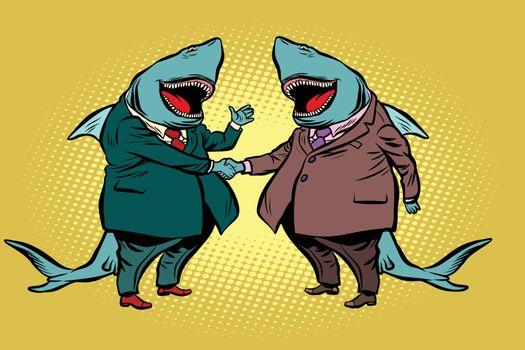 businessman shark business partnership. Comic cartoon pop art retro illustration vector kitsch drawing