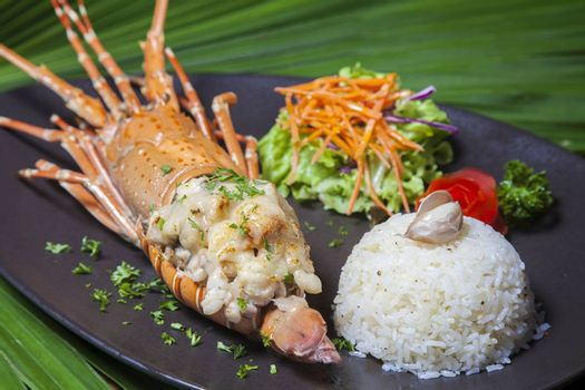 Seafood menu. There are lobster and rice ,Thai food in a luxury hotel.