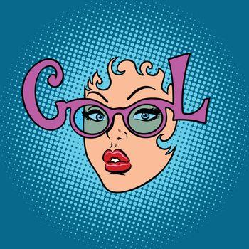 Cool fashion women glasses. Comic book cartoon pop art retro illustration