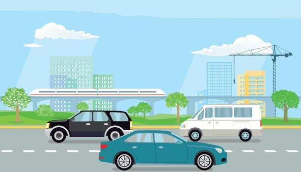 Expressway in the city illustration