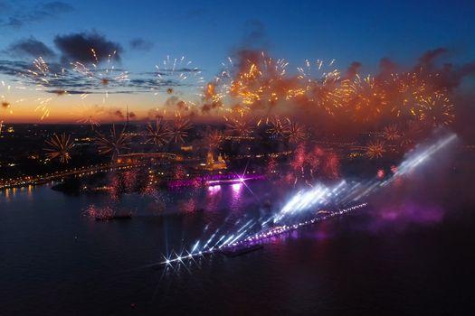 Salute Scarlet Sails. The festive salute is grandiose. Fireworks pyrotechnics