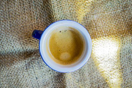 cup of creamy short espresso