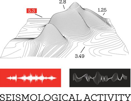 Seismic activity infographics vector illustration with sound waves, graphs and topological relief on white background