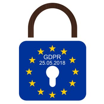 European flag with text GDPR and 25.05.2018