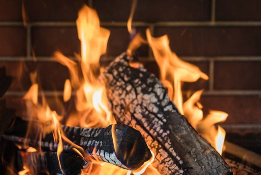 A burning fire in the fireplace, close-up