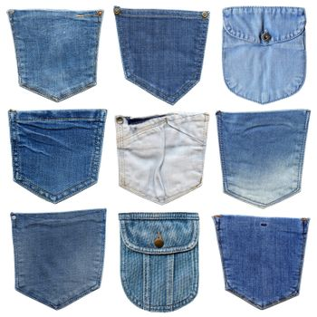 Jeans pocket isolated on white. Set of different jeans pocket. Isolated on white denim collection