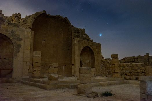 Night ruins in Shivta , Israel