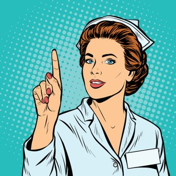 woman nurse attention gesture