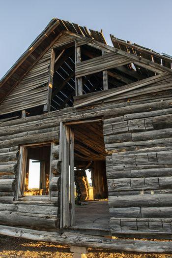 Abandoned wood cabin in Dead Horse Ranch State Park, Arizona