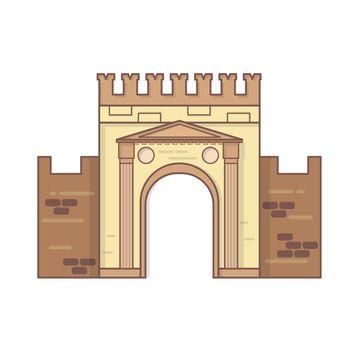 Rimini, Emilia Romagna, Italy Arch of Augustus vector, ancient romanesque gate