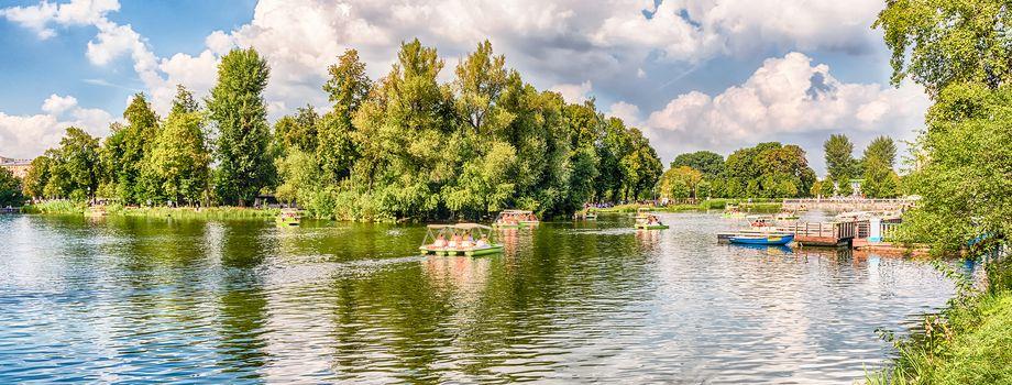 Idillic lake inside Gorky Park, Moscow, Russia
