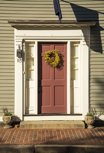 Red Front Door with decoration in Boston MA, USA