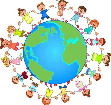 Children and the globe. Children are holding each other's hands. Group of cheerful, smiling children standing on the globe. Cartoon of joyful children.