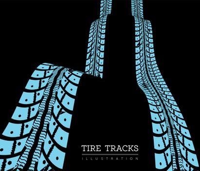 Tire tracks. Vector illustration on dark background
