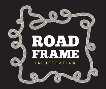 Curved road track in a frame. Vector illustration on black background