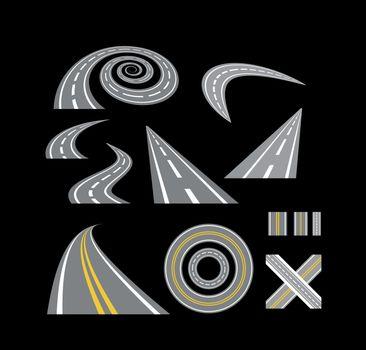 Asphalt curved roads. Highway vector illustration set