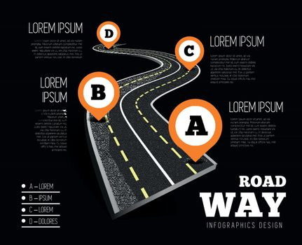 Road way design infographics. Vector illustration on black