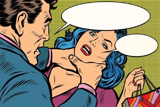 Husband scolds his wife, dangerous behavior