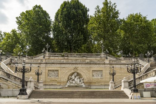 The Fountain of Nymph and Seahorse in the Montagnola Park in Bologna, Italy