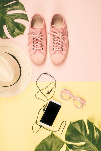 Flat lay with trendy accessories
