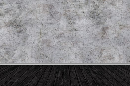 room perspective,grunge grey concrete wall and wooden plank grou