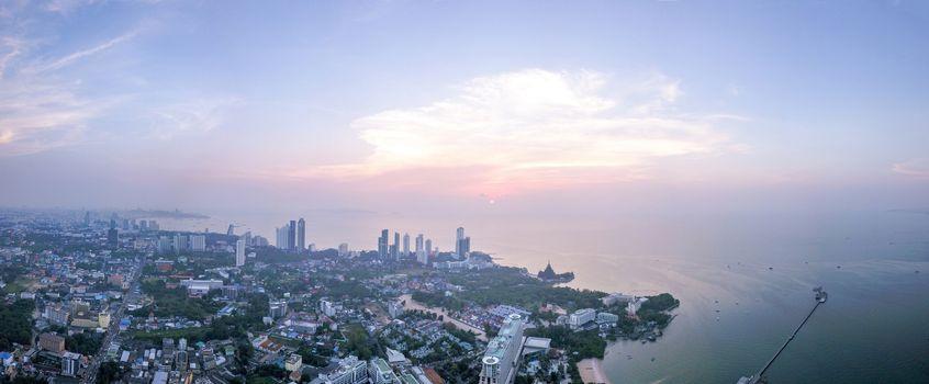 Aerial view of Pattaya city at suset