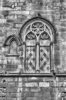 Medieval window in Placa del Rei, Barcelona, Catalonia, Spain