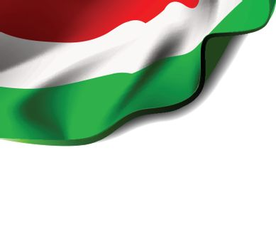 Waving flag of Hungary close-up with shadow on white background. Vector illustration with copy space for your design