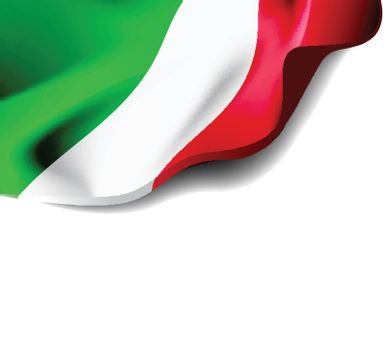 Waving flag of Italy close-up with shadow on white background. Vector illustration with copy space for your design