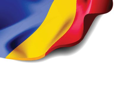 Waving flag of Romania close-up with shadow on white background. Vector illustration with copy space for your design