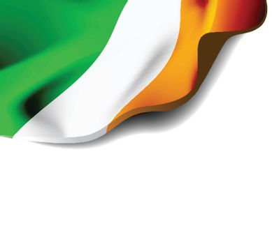 Waving flag of Ireland close-up with shadow on white background. Vector illustration with copy space for your design
