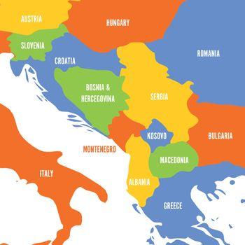 Political map of Balkans - States of Balkan Peninsula. Colorful vector illustration