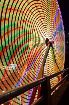 Ferris Wheel at night during Portland Rose Festival colorful lights long exposure closeup
