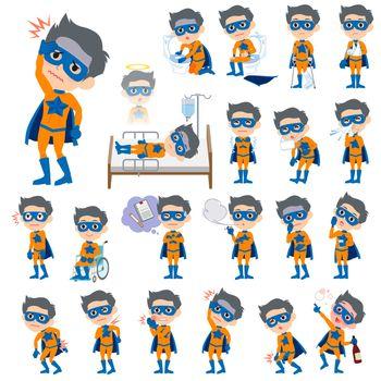 super hero man orange Blue sickness