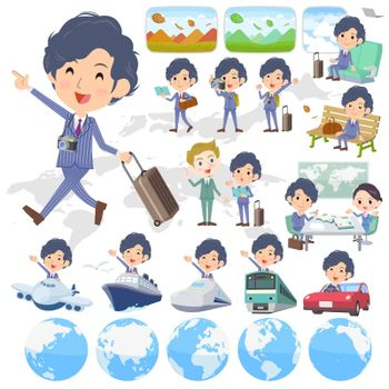 Set of various poses of Stripe suit perm hair man travel