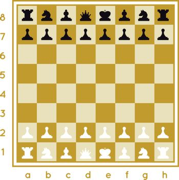 A chess set that includes itself, a pawn, a horse, a rook of the king, a queen, black and white