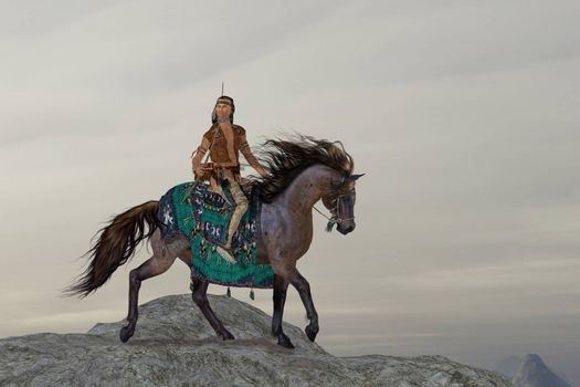 A North American Indian brave searches the mountains on his horse for big game to bring back to his tribe.