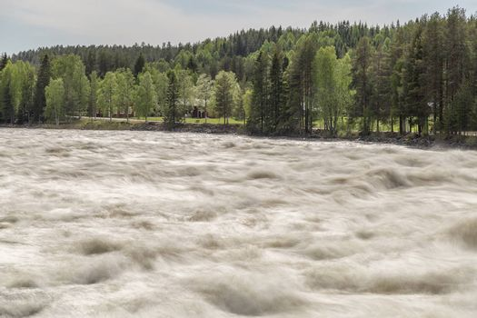 The Rapids at Renforsen in Vindeln, Sweden with a partly cloudy sky and red houses.