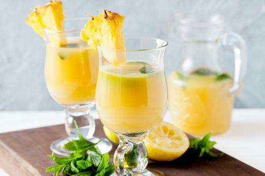 Glasses Of Refreshing Pineapple Juice