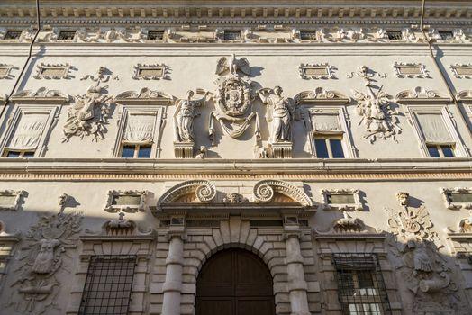 Details of Palazzo Bentivoglio, a late-Renaissance palace located in Ferrara, Italy.