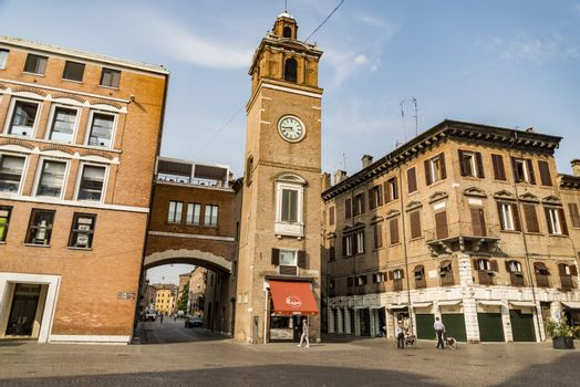 FERRARA - JUNE 17, 2017: Historical building in the Square Trento and Trieste on June 17, 2017 in Ferrara - Italy