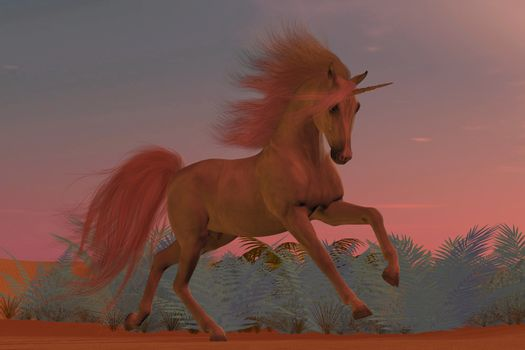 A Unicorn is a creature of myth and fantasy and has cloven hooves, forehead horn and the body of a horse.