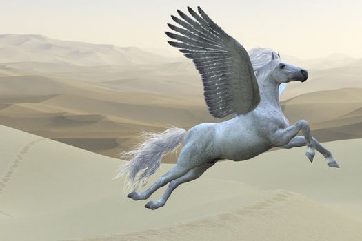 Pegasus is a mythical white divine stallion with long flowing mane and tail rises into the sky with powerful wings beats.