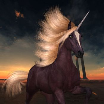 A flashy unicorn with a liver chestnut coat prances near ruins of a lost Roman or Greek city.