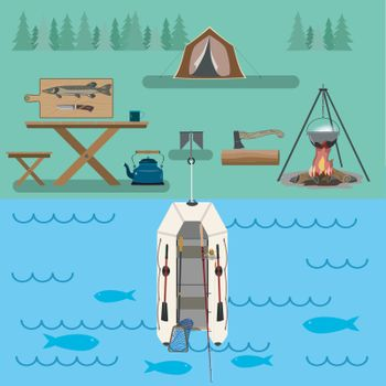 A set of accessories with a boat for traveling through the forest and rivers. For active and nature-loving people. Flat drawing.